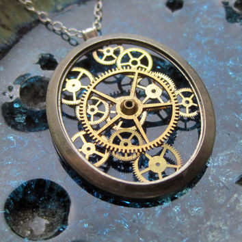 "Clockwork Pendant ""Obloid"" Recycled Mechanical Watch Gears and Intricate Sculpture Wearable Art Not Quite Steampunk Assembly Necklace"