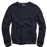 Heavy Stitch Garment Dyed Merino Crew in Navy