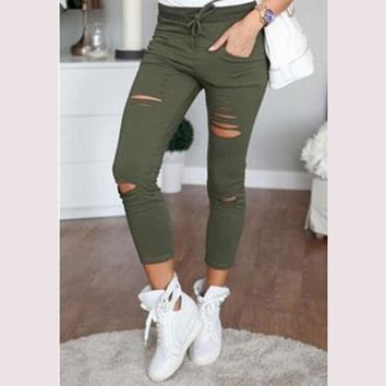 Fashion Womens Ladies Stretch Faded Ripped Slim Fit Skinny Denim Jeans Summer Style Elastic Drawstring Hole Pants Trousers