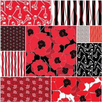 Poppy Passion Fat Quarters, Fat Quarters, Fat Quarter, Fat Quarter Fabric, Fat Quarters Fabric, Quilt Fabric, Red Fabric, Red and Black
