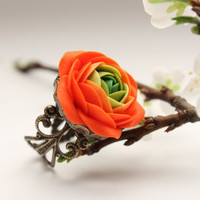 Orange and Green flower Ranunculus ring free shipping by eteniren