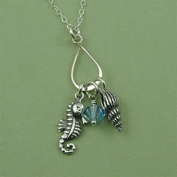 Sea Shell Charm Necklace - sterling silver sea horse jewelry - birthstone necklace - gift for friend