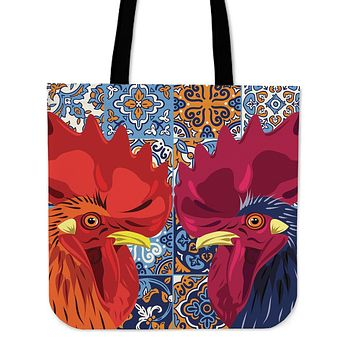Ceramic Roosters Linen Tote Bag