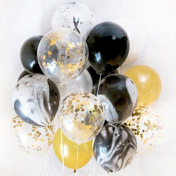 20pcs Gold and Black Party Decoration Marble Confetti Balloons for Wedding Birthday Party Photography Props Backdrop Supplies