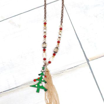 O' Christmas Tree + Chain Tassel Beaded Necklace