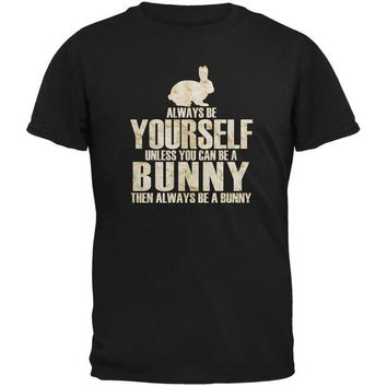 DCCKJY1 Always Be Yourself Bunny Black Youth T-Shirt