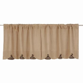 Burlap with Black Check Tier Curtains 24""