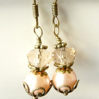 Vintage earrings pearl and crystal pale pastel by Dewdropsdreams