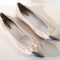 White Leather Prada Ballet Vintage Style Flats by ModernFiction