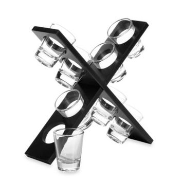 Circleware City X 2.5-Ounce Shot Glass Set with X-Shaped Base