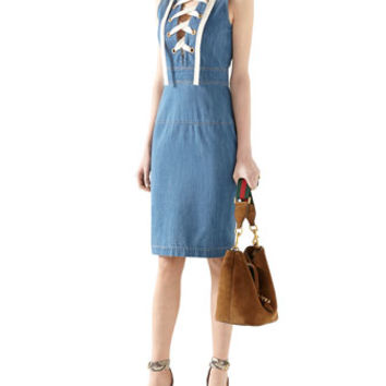 Gucci Denim Sleeveless Lace Up Dress