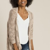 Lydia Taupe Knit Cardigan