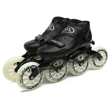 Speed Inline Skates Carbon Fiber 4*90/100/110mm Competition Skates 4 Wheels Street Racing Skating Patines Similar Powerslide F69