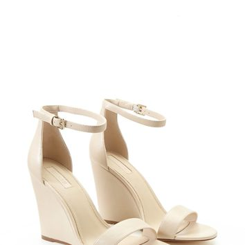 Faux Leather Ankle-Strap Wedges