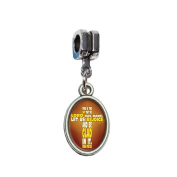 Bible Verse Cross Psalm - This is day that the Lord European Style Bracelet Charm