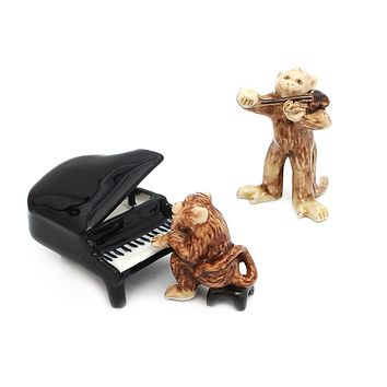 Monkey Music Band Handmade Ceramic Figurine Miniature Decor/Animal Collection