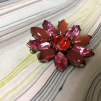Brass Toned Metal Pink Rose Fuchsia Flower Petal Brooch Vintage Floral Jewelry Frosted Pink Cabochon with Round Faceted Rhinestone Center
