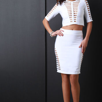 Open Cage Side Bandage Midi Skirt