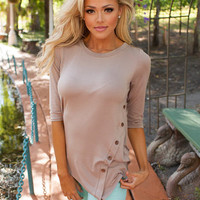 One Sided Button Top Taupe