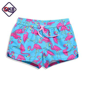 QIKERBONG Lady Casual Shorts Women bird blue print Shorts Women Shorts Ladies' Quick Drying Fabric New 2017 Summer sexy short