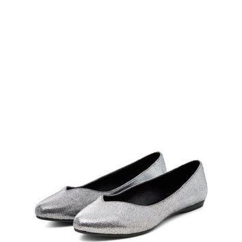 Wide Fit Silver Metallic Pointed Pumps