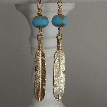 Feather earrings, turquoise czech, long earrings, dangle, bohemian style, casual everyday jewelry