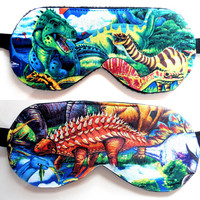 Dinosaur Sleep Mask, T-Rex Eye Mask, Blindfold for Boys Man Kid Child, Tyrannosaurus Rex, Stegosaurus, Satin Cotton Flannel or Knit Back