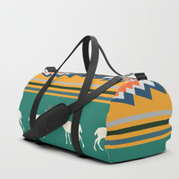 Ethnic Christmas pattern with deer Duffle Bag by CocoDes