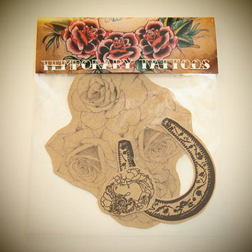 Pack of Temporary Tattoos  Horseshoe Cameo and Roses by esterkneen