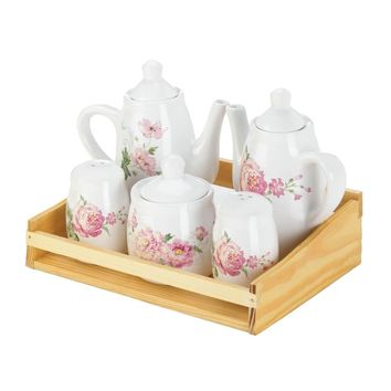 Dolomite And fir wood tray Mini Pink Floral Tea Set