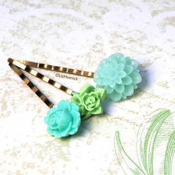 Fresh Mint Flower Bobby Pins. Hair Accessories by Liz Hutnick. Green and Aqua