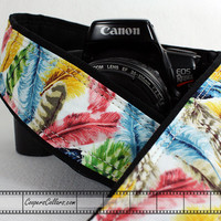 Colorful Feathers dSLR Camera Strap, Feathers, Blue, Yellow, Pink, Green, SLR, 158