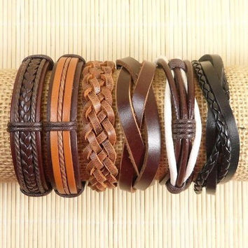Leather Bracelets 6 Piece Mens Bracelets Leather Braclets for Women Leather Wrap Bracelets BST-525