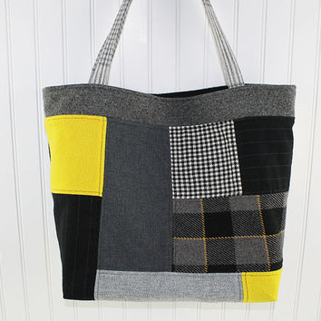 Patchwork Wool Black and Yellow Large Tote Bag, Market Bag, Fold Up Bag, Art Tote Bag, Everything Bag, MK146