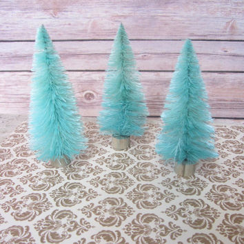 "Bottle Brush Christmas Trees Tiffany Blue Aqua table decor 4"" Set of 3"