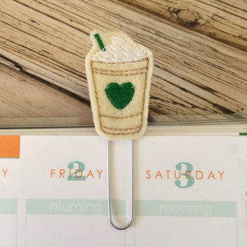 Coffee Cup - green - felt - Planner clip, bookmark, page clip, paper clip, planner accessories