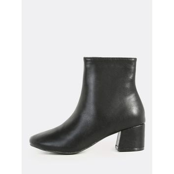 Plain Lined Round Toe Booties BLACK