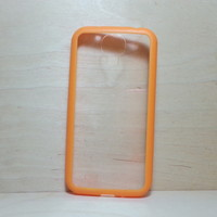 For Samsung Galaxy S4 Orange Silicone Bumper and Clear Hard Plastic Case