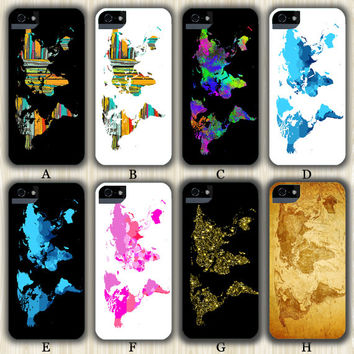 World Map Design iPhone 6/5S/5C/5/4S/4 Wrap Case and Tough Case