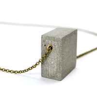 Concrete necklace: Geometric Jewelry Cuboid / Architectural Jewelry / Cement Jewelry / Modern Necklace