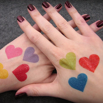 Rainbow Hearts Temporary Tattoos - Rainbow Halloween Costume Accents - Rainbow Brite Costume Accessories