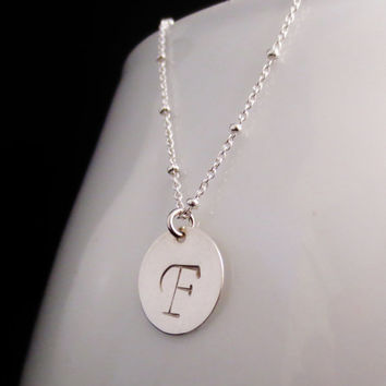 Silver Initial Disc Necklace, Beaded Chain Initial Necklace, Bridesmaid, Best Friends, Minimalist Jewelry