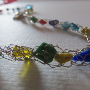Knitting Necklace silver wire with a varia of different colorful gems ; bubble jewelry Gemstone necklace