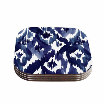 "Crystal Walen ""Indigo Ikat"" - Blue Diamond Coasters (Set of 4)"
