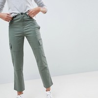 ASOS Straight Leg Stretch Trousers with Pockets in Light Khaki at asos.com