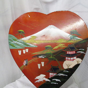 Vtg Japan heart box, Japan painted box, Made in Japan mark, vtg heart souvenir, sweetheart souvenir, painted trinket box, oriental box