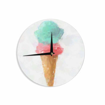 "Oriana Cordero  ""Cotton Candy & Raspberry"" Pink Teal Wall Clock"