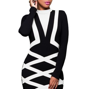 Contrast White Accent Long Sleeve Little Black Dress