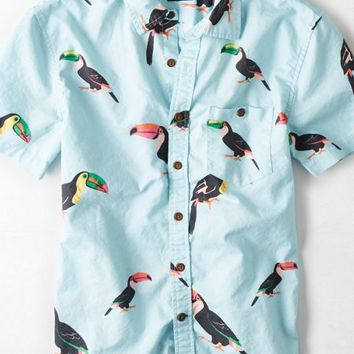 AEO Men's Patterned Short Sleeve Button Down Shirt (Light Blue)