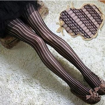 Women Lady Girl Vertical Stripe Sexy Stocking Hollow Out Tights Vintage Pantyhose